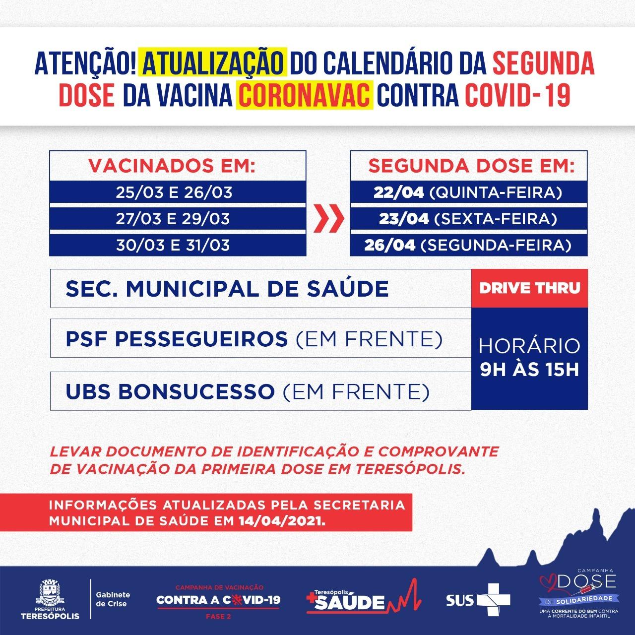 Atualização do calendário da Segunda dose de Coronavac © PREFEITURA DE TERESÓPOLIS - ASSESSORIA DE COMUNICAÇÃO