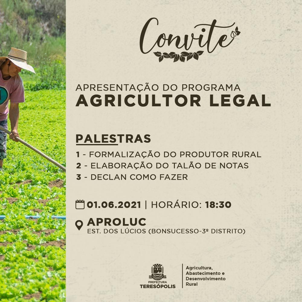 CONVITE APRESENTAÇÃO PROGRAMA AGRICULTOR LEGAL